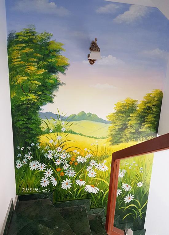 cầu thang vẽ tranh trang trí
